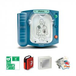 Pack intérieur : Défibrillateur Philips HS1 + Boîtier mural avec alarme sonore