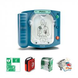 Pack extérieur : défibrillateur Philips HS1 + boîtier mural avec alarme et chauffage
